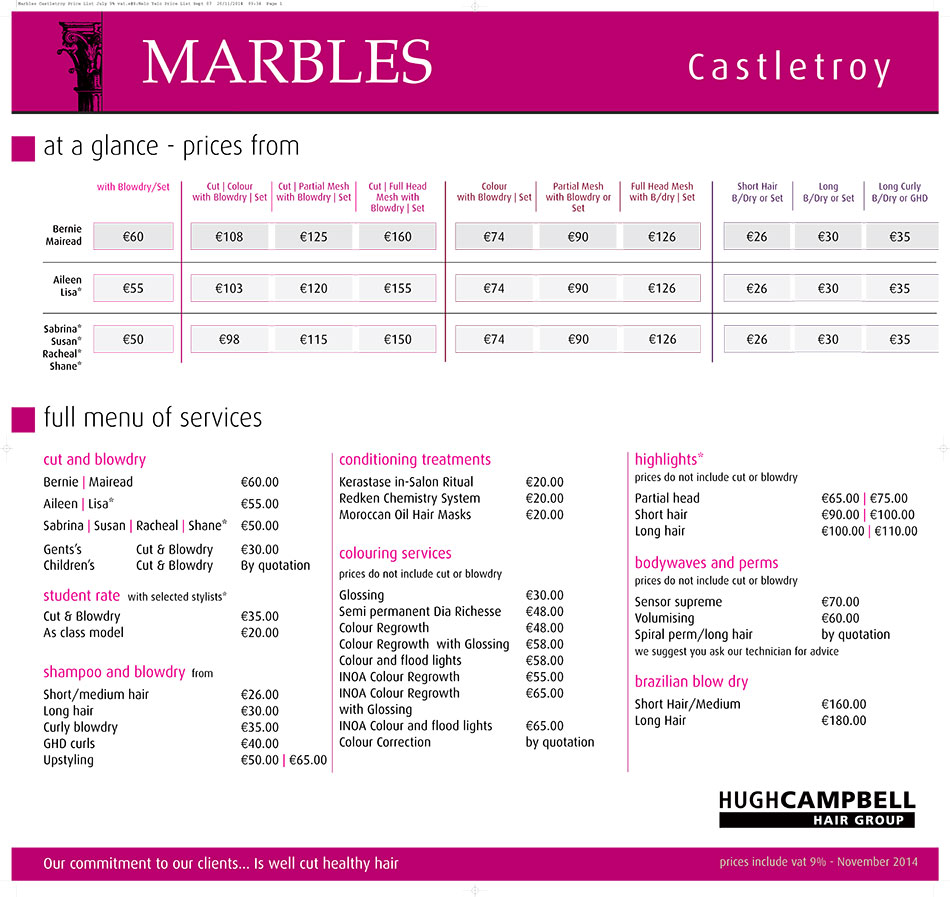 Price list marbles salon castleroy hugh campbell for Loreal salon price list