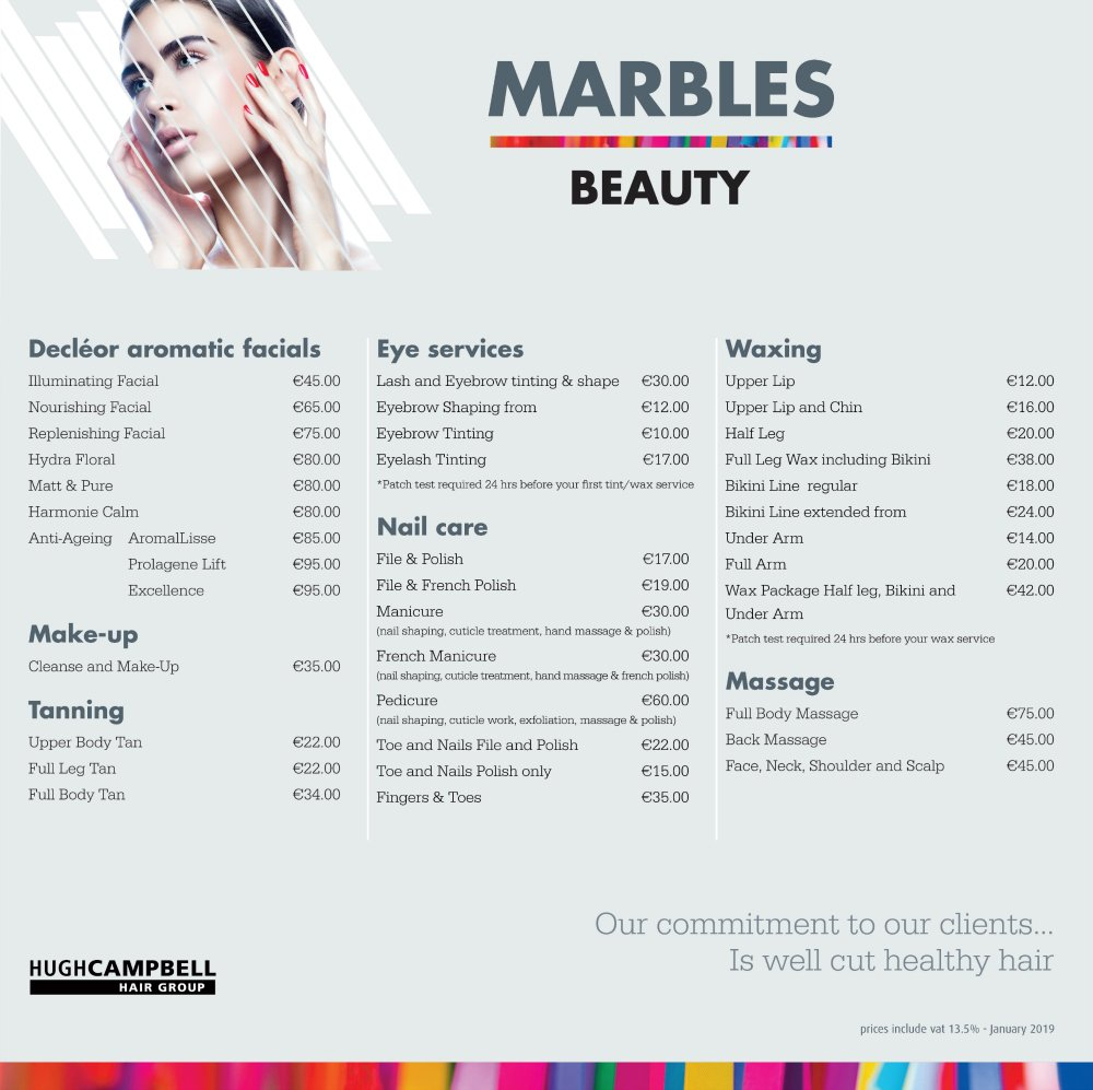 NEW Beauty Price List 2020