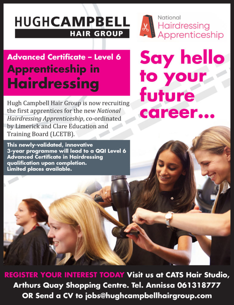 National Hairdressing Apprenticeships at top Limerick hair salon group